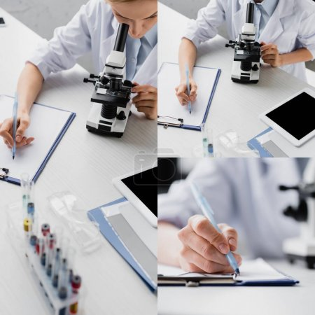 collage of scientist writing on clipboard and looking through microscope near digital tablet with blank screen