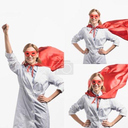 Photo pour Collage d'infirmière gaie en masque rouge et cape de super-héros posant isolé sur blanc - image libre de droit