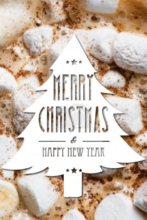 Close up view of cocoa, marshmallows and cinnamon with merry christmas and happy new year lettering in pine illustration