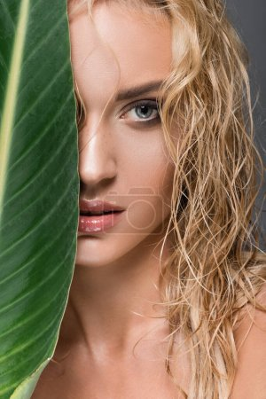 blonde woman with wet hair and green leaf