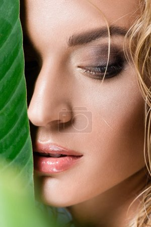 closeup of blonde woman with wet hair and green leaf