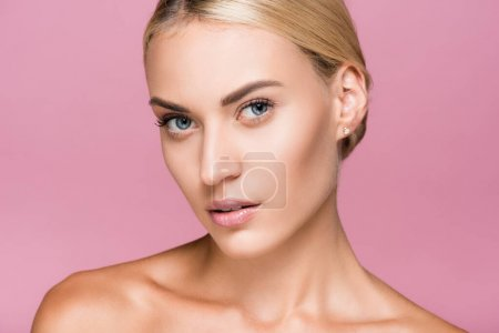 Photo for Beautiful blonde woman with perfect skin isolated on pink - Royalty Free Image