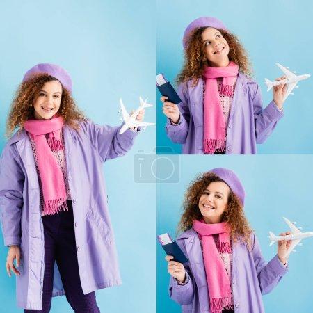 Photo pour Collage de gaie jeune femme en manteau d'hiver et béret tenant passeport et avion jouet sur bleu - image libre de droit
