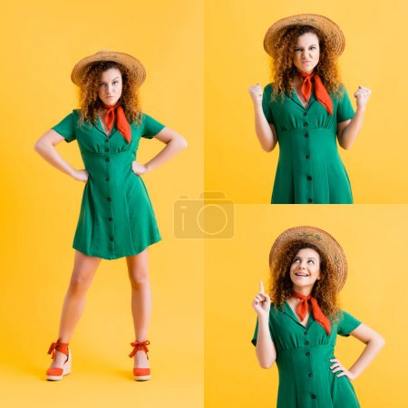 collage of dissatisfied woman in green dress standing with hands on hips, showing clenched fists and pointing with finger while smiling on yellow