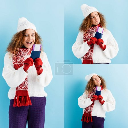 Photo for Collage of curly young woman in hat and sweater holding passport on blue - Royalty Free Image