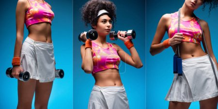 Photo for Collage of curly young woman exercising with dumbbells and standing with skipping rope on blue - Royalty Free Image