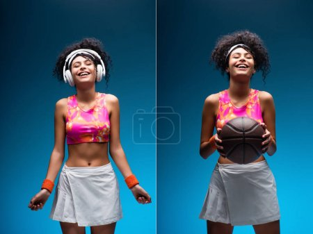 collage of smiling woman in sportswear holding basketball and listening music in wireless headphones on blue