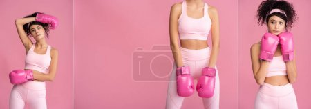 collage of curly young woman in sportswear and boxing gloves isolated on pink