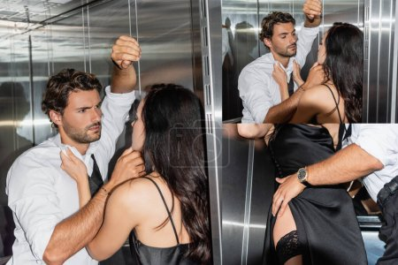 collage of passionate man touching face of seductive brunette woman and embracing her in elevator