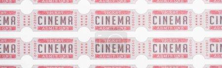 Photo pour Vue du dessus des billets de cinéma sur blanc, bannière - image libre de droit