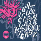 Hand made brush and ink typeface Handwritten retro textured grunge alphabet with hand drawn ink flower and letter pattern Artistic design for invitations posters banners greetings illustrations