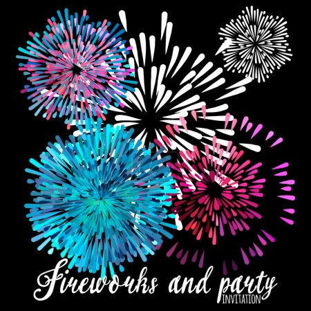 Vector pattern with stylized fireworks and party invitation