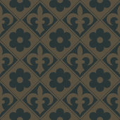 Golden seamless pattern on a dark green background