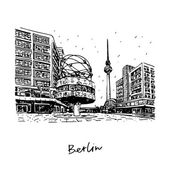 TV tower and world clock at Alexanderplatz train station Berlin Germany