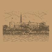 Riga Castle on the banks of River Daugava in Riga Latvia