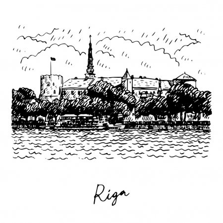 Riga Castle on the banks of River Daugava in Riga, Latvia.