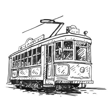 Retro tram. Picture of vintage transport.