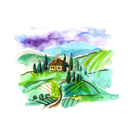 Watercolor Tuscany landscape
