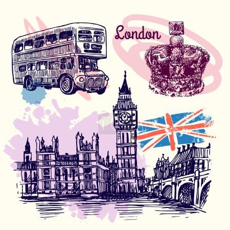 Photo pour Belle illustration de croquis vectoriels dessinés à la main Londres. Style de croquis . - image libre de droit