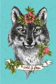Boho Style hand drawn poster with portrait of wolf Vector illustration Use for t-shirt prints postcards
