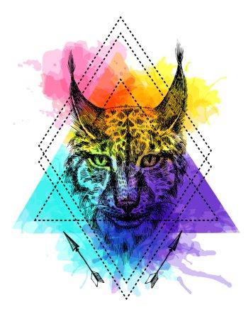 Illustration pour Belle illustration vectorielle dessinée à la main esquisse de lynx. Dessin style tatouage. Utilisez pour cartes postales, impression pour t-shirts, affiches . - image libre de droit