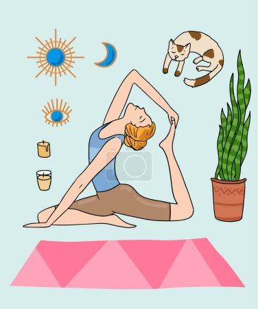 Illustration pour Affiche de fille de yoga. Belle illustration dessinée à la main faire du yoga à la maison. Dessin de style dessin animé. - image libre de droit