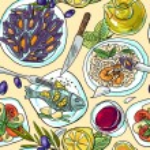 Simpless hand- draw pattern mediterranean food fof...