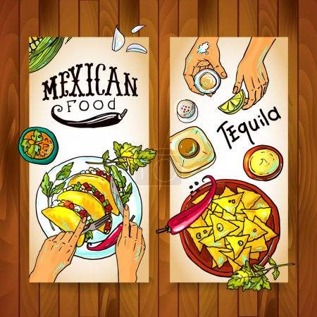 banners with mexican food