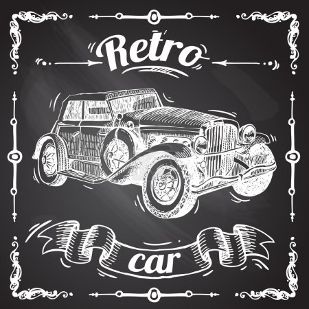 Illustration for Beautiful hand- drawn illustration retro car sketch on the chalkboard - Royalty Free Image
