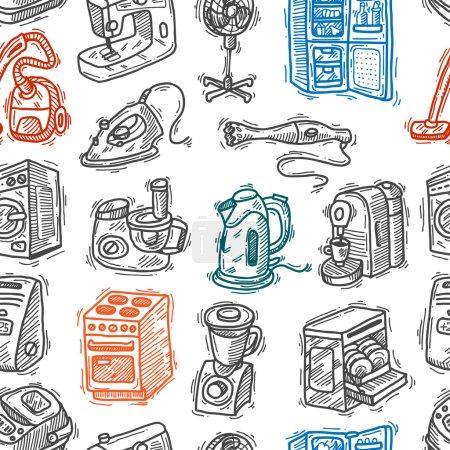 Photo pour Belle main dessinée doodle patron sans couture appliahces maison - image libre de droit