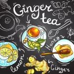 Beautiful hand drawn food illustration ginger tea...