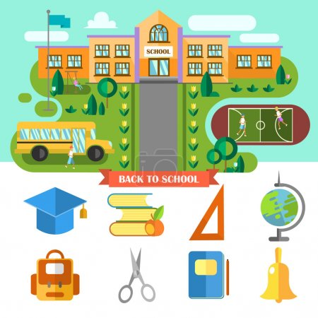 Illustration for Beautiful vector flat school landscape and set of school icons. Concept back to scool - Royalty Free Image