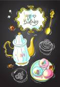 Tea and sweets top view