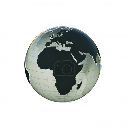Photo for Planet earth extruded isolated on white background - Royalty Free Image