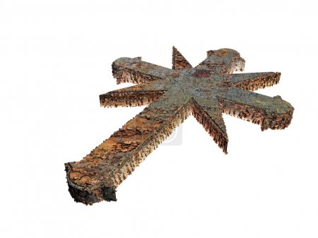 3d illustration of a rusty cross isolated on white background