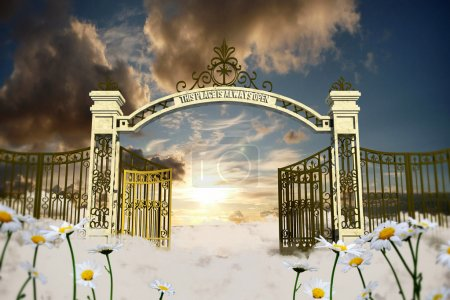 Photo for Heaven gate in an old illustration - Royalty Free Image