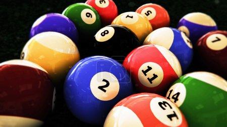 Pool balls close up