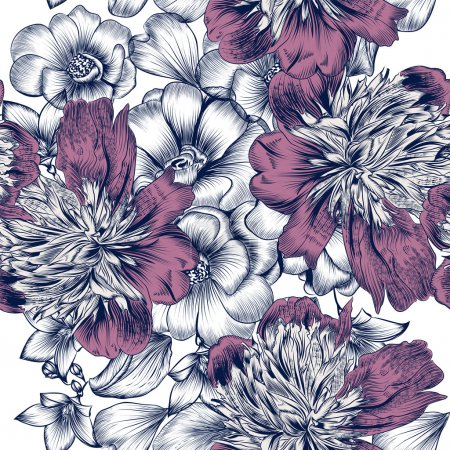 Illustration for Floral seamless pattern with roses and peony flowers in engraved style for design - Royalty Free Image