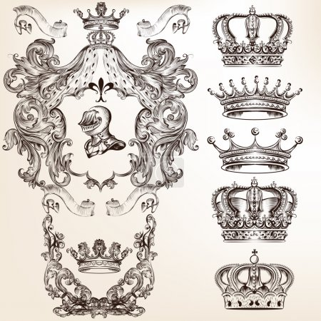 Vector set of crowns and detailed shields for your heraldic desi