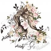 Roztomilé dívky tvář s dlouhými vlasy styl skica