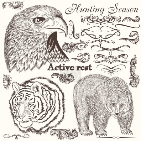 Collection of hand drawn animals and flourishes