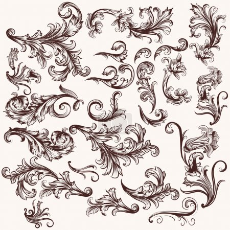 Illustration for Vector set of calligraphic elements for design. Calligraphic vector - Royalty Free Image
