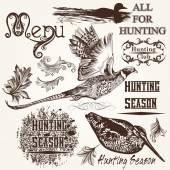 Sammlung von Vektor hand gezeichneten Tiere Jagd Saison Gestaltung