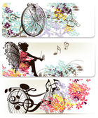 Set of floral backs with flowers