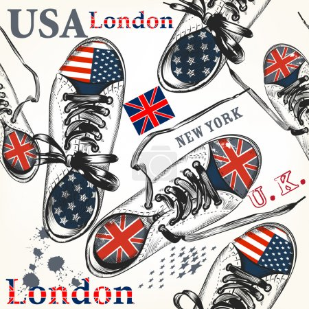 Illustration for Fashion background with sports boots decorated by British and USA flags - Royalty Free Image