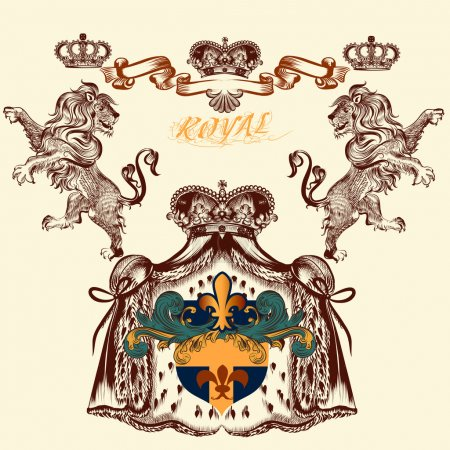 Heraldic design with lion and  coat of arms