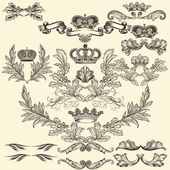 Collection of heraldic frames in vintage style for design