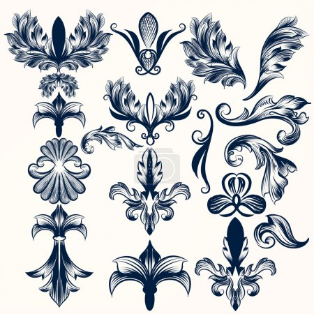 Collection of vector hand drawn fleur de lis and swirls in vinta