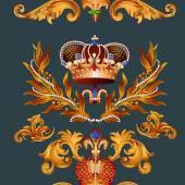 Heraldische nahtlose-Tapete-Muster mit Fleur de Lis und Kronen