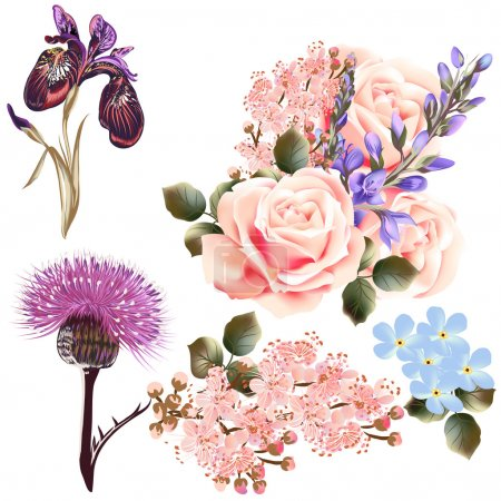 Illustration for Set of floral designs in watercolor style with flowers - Royalty Free Image